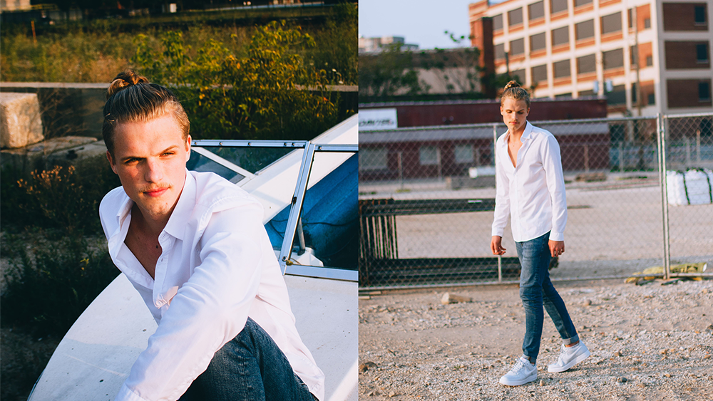 Blonde male modeling, posing during golden hour, Madison Wisconsin